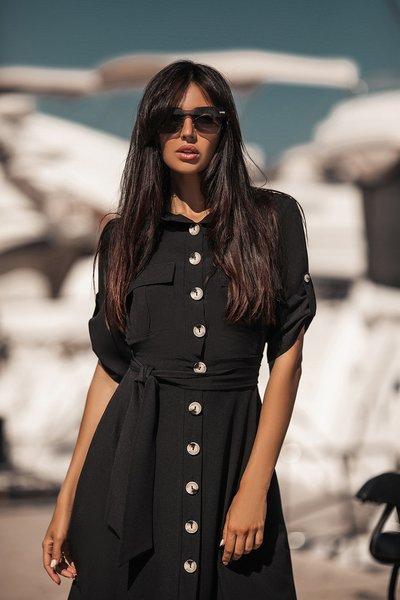 Платье - рубашка с крупными пуговицами №067 черное